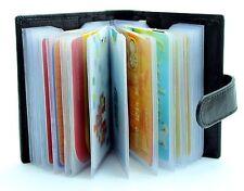 Genuine Soft Black Leather Credit Card Holder Wallet - 20 clear plastic pockets