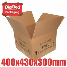 10x HALF Tea Chest Moving Box 430x400x300mm Cardboard Carton Removalist