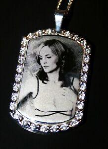 Precision Engraved Stainless Steel Rectangular Gemstones Photo Pendant