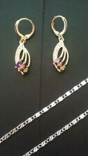 Yellow gold plated earrings and silver plated necklace. women's jewelry set