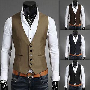 Mens Formal Vest Jacket Buttons Suit Slim Fit Tuxedo Business Waistcoat Coat
