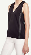 Ann Taylor NEW Contrast Stitch Shell Top Black Sizes S ~ NWT $69.50