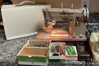 Singer 328K Style-O-Matic Heavy Duty Sewing Machine Case Accessories Tested Used