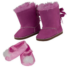 """MANGOPEACHES: 18"""" DOLL HOLIDAY BOOTS & FUZZY SLIPPERS - Doll DELUXE set"""