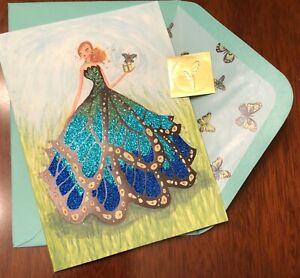 PAPYRUS Greeting Card BELLA PILAR Birthday Butterly Girl GLITTER Beauty, Glamor