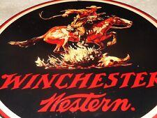 "VINTAGE WINCHESTER WESTERN HORSE MAN GUN 11.25"" PORCELAIN METAL HUNTING GAS SIGN"
