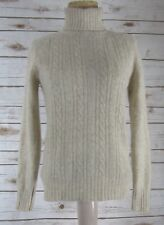 Vintage Wayne Rogers Womens Large Beige Ls Cable Angora Turtleneck Sweater