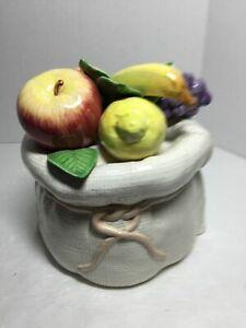 Cookie Jar Burlap Bag Fruit On Top Pottery 1990 Taiwan A396