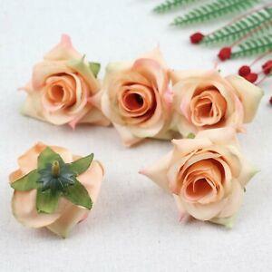 Fake Rose Artificial Silk Flower Heads Craft Wedding Decor 20-100Pcs(Coral)
