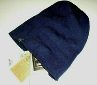 Timberland mens Macys designer acrylic knit beanie reversible logo hat -OS-blue