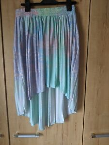 Topshop Pastel High Low Pleated Skirt, Size 8, Pink, Green, Purple, Blue