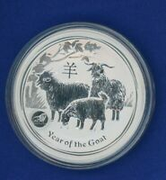 2015 P Gilt Australia Year of the Goat - .999 Silver $1 - 1 oz Coin - Lion Privy