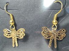Handmade Gold Tone Dragonfly Bug Insect Drop Style Hook Fashion Earrings-Jewelry