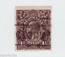 1918 Australia Sc #24b Θ used F 1½  Pence, (b) black brown postage stamp,