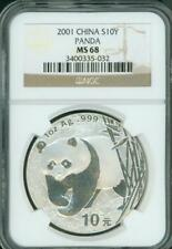 2001 PANDA SILVER COIN 1 Oz. 10Y Yuan 10-Yn CHINA NGC MS68