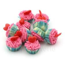4x Miniature Rosa espolvorear Cupcakes con un tazas de papel azul y blanco