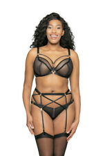 NEW Scantilly x Curvy Kate Unzipped 3 Piece Bra Set 32F + Thong Size M in Black