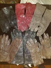 6 pairs Vintage Leather teen or Ladies Gloves Small Sz 6. Wine, black, brown
