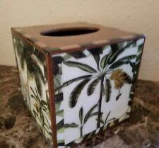New Annie Modica Palm Tree Tropical Tissue Box Dispenser Cover