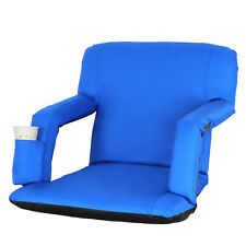 Portable Stadium Seat Chair Reclining Seat Blue Bleachers W/5 Assorted Positions