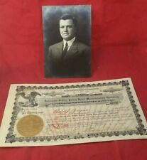 1907 Stock Certificate with owner picture. Automatic Safety Pulley Block Company