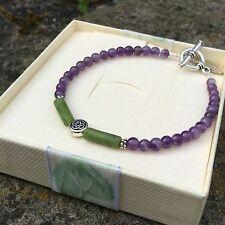 Connemara marble purple amethyst gemstone Celtic bracelet Irish designer jewelry