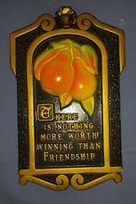 Vtg 1971 Miller Studio Friendship Pear Fruit Chalkware Wall Plaque Black Gold
