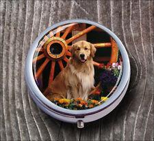 DOG GOLDEN RETRIEVER PILL BOX ROUND METAL -huj8Z