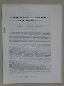 Le conte populaire - Bromberger Littérature orale tiré à part Ethnologie 1979