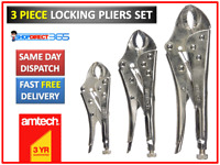 Draper Mole type Grip Wrench 3pc Plier set Curved Jaw 140mm 190mm /& 220mm 14040