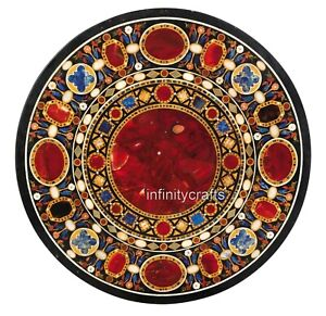 36 Inches Round Shape Kitchen Table Top Red Jasper Stones Marble Dining Table