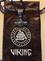 Thor Hammer Mjolnir Viking Amulett Hammer Anhänger +Kette 60cm +Geschenkbeutel