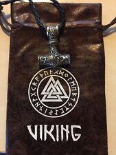 Martillo de Thor Mjolnir Viking Amuleto Colgante + Cadena 60cm + Bolsa Regalo