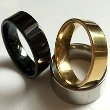 wholesale 100 gold Black silver Plain band Stainless steel Rings ring Jewelry