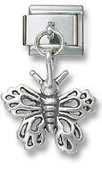 Italian Charm Dangle Butterfly 925 Sterling Silver 9 mm Stainless Steel Bracelet