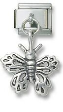 Italian Charm Dangle Butterfly 925 Sterling Silver 9 mm Stainless Steel Bracelet