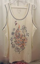 Women's Lucky Brand Embroidered Tank Peacock  3X