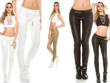Pantaloni DONNA Pantalone Effetto Pelle Fuseaux Aderenti Tessuto Sexy NUOVO Moda