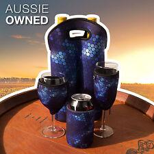 Neoprene Wine Glass Champagne Glass Stubby Twin Bottle Cooler Neoprene Set BLUE