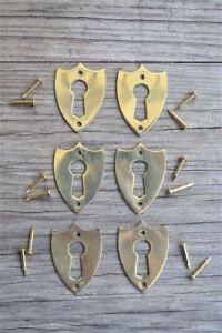 6 brass Victorian shield furniture escutcheon antique box keyhole plates SE2