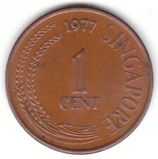 Singapore 1977 - 1 Cent Copper Clad Steel Coin - High Rise and Fountain