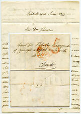 SPAIN to PORTUGAL 1843 LETTER CASTILE to Olmedo...SEMPRUY + 5 HANDSTAMPS