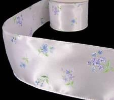 "8 Yards Blue Purple Pastel Flower Buds Satin Wired Ribbon 2 1/2""W"