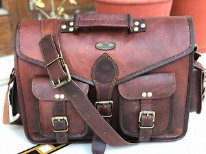 Leather Vintage Laptop Messenger Handmade Briefcase Bag Satchel Natural GVB Goat