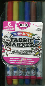 Tulip Fabric Markers Rainbow 6 piece set NEW Permanent