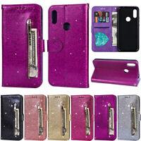 Zipper Glitter Wallet Leather Flip Case For Huawei P30 Lite Y7 2019 Y6 2019 P20