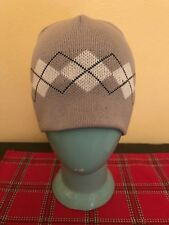 Grey White Argyle Pattern Winter Beanie Skull Cap Hat One Size Cotton Acrylic