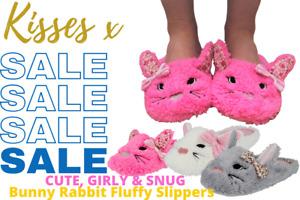 Ladies Girls Kisses Rabbit Animal Slip On Fleece Novelty Plush Mule Slippers