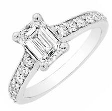 GIA Certified 1.00 carat Emerald Cut center Diamond Engagement Proposal Plati...