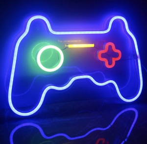 Gaming Neon Signs Light Game LED PS Controller Pad Wall Art, USB, 41 x 28cm